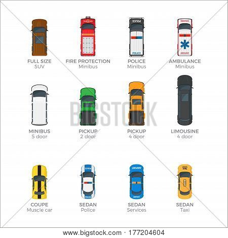 Means of transportation collection on white. Vector poster of police and ambulance minibuses, fire protection, yellow taxi and other urban vehicle types with two, four and five doors and names below