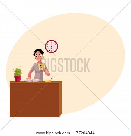 Businessman having early breakfast at home, holding cup of coffee while reading a book, cartoon vector illustration with place for text. Businessman, student having breakfast while reading