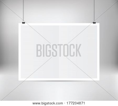 White vector poster hanging on binder with frame. Grey wall with poster mockup empty paper blank. Layout mock up. Horizontal template sheet. Paper sheet hanging on wall.