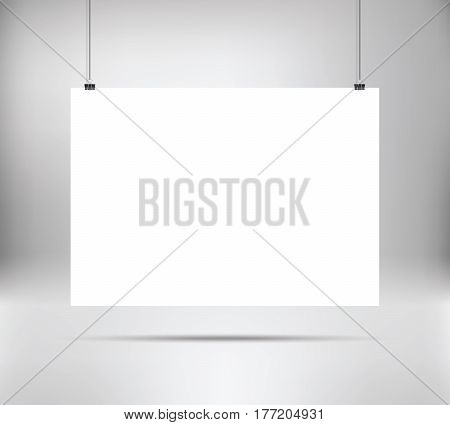 Empty white vector horizontal poster template. Poster mock up. Template of white blank vector poster. Mockup hanging on wall. Frame for paper sheet. A4 A3 A2 A1 format. Stock vector.