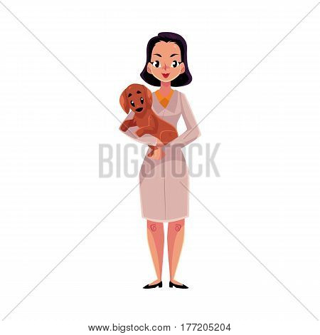 Young woman, female veterinarian doctor, vet in white medical coat holding a dog, cartoon vector illustration isolated on white background. Female, woman veterinarian doctor, vet holding a puppy