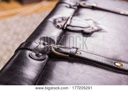 Black vintage suitcase leather texture