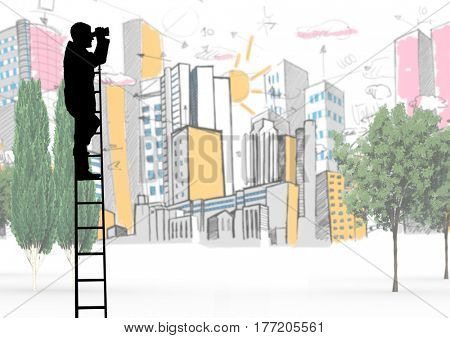 Digital composite of Composite image of Businessman on a Ladder looking at his objectives against city view