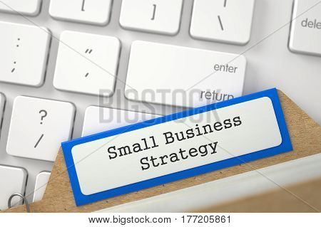 Small Business Strategy Concept. Word on Blue Folder Register of Card Index. Closeup View. Blurred Image. 3D Rendering.