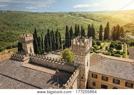 The castellated towers of the historic abbey of Passignano in the comune Tavarnelle Val di Pesa Province of Florence Italy