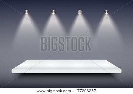 Light box with white presentation platform on dark backdrop with four spotlights. Editable Background Vector illustration.