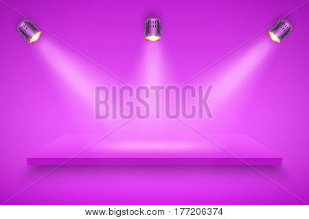 Light box with purple presentation platform on purple backdrop with three spotlights. Editable Background Vector illustration.