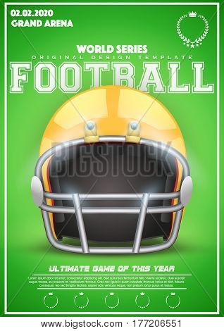 Poster Template with American Football Helmet. Cup and Tournament Advertising. Sport Event Announcement. Vector Illustration.