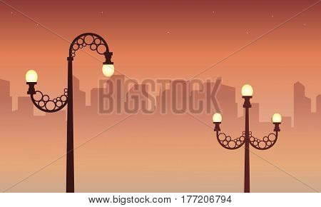 Illustration of city with street lamp landscape collection stock
