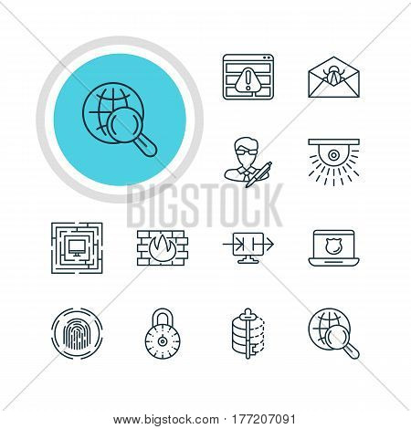 Vector Illustration Of 12 Web Safety Icons. Editable Pack Of Internet Surfing, Network Protection, Corrupted Mail And Other Elements.
