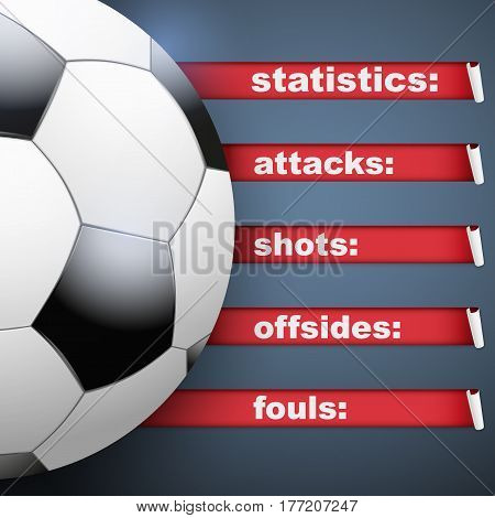 Background of Football Soccer sports. Infographic of list and schedule of players and statistics. Ball with red ribbon on dark background. Vector Illustration.