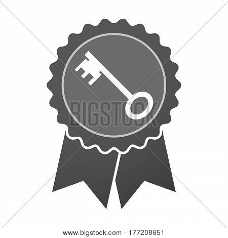 Isolated Badge With  A Vintage Key