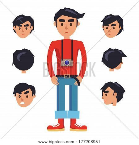 Hipster with camera cartoon character generator with emotive heads with different sides view. Brunette man in red jumper, rolled up jeans and boots with photo camera on neck isolated flat vector