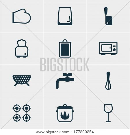 Vector Illustration Of 12 Kitchenware Icons. Editable Pack Of Bread, Oven, Chopping Desk And Other Elements.