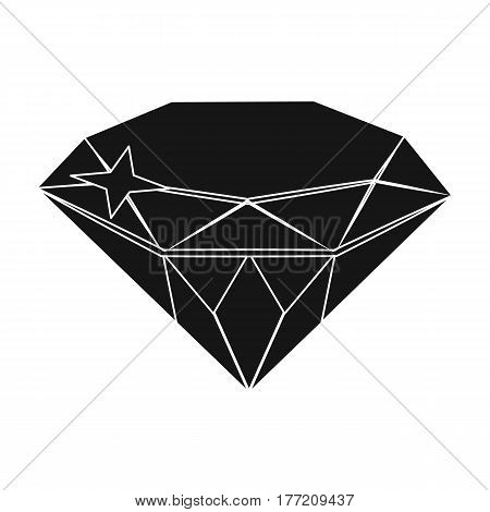 Gem diamond. A valuable prize in the casino.Kasino single icon in black style vector symbol stock web illustration.