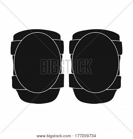 Protective knee pads for cyclists. Protection for athletes.Cyclist outfit single icon in black style vector symbol stock web illustration.