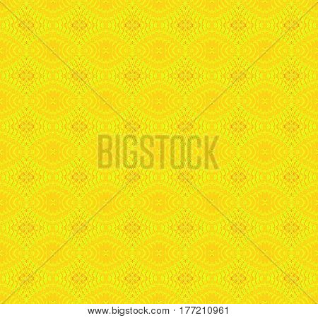 Abstract geometric seamless retro background single color. Regular ellipses and diamond pattern in yellow shades.