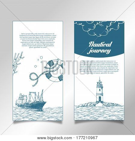 Leaflet. Reefer Forward. The lighthouse in the sea. Reefer sails on the waves of the sea. It can be use for a company that deals with cargo transportation or travel. Sketch style. Vector illustration