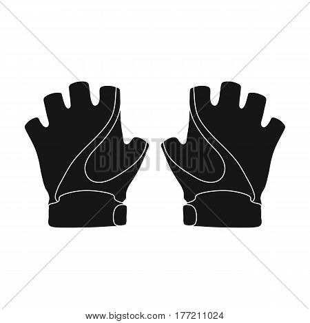Bike hand gloves for cyclists. Protective equipment for athletes.Cyclist outfit single icon in black style vector symbol stock web illustration.