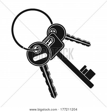 A bunch of keys from the cells in the prison. Keys for opening criminals.Prison single icon in black style vector symbol stock web illustration.