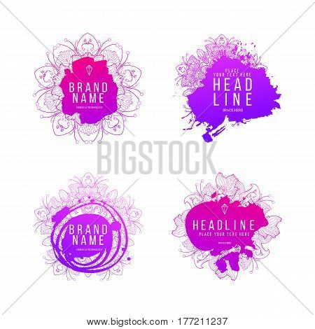 Set of modern abstract hand drawn splash blob label with lettering. Hand drawn labels. Sign label, textured emblem. Vector illustration