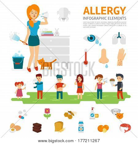 Allergy infographic elements vector flat design illustration. Woman sneezes and allergens icons. People with allergies. Tear, cough, sneezing, rashes, asthma, temperature, the symptoms of allergies.