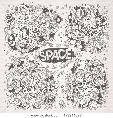Sketchy vector hand drawn doodles cartoon set of Space objects and symbols. Paper background