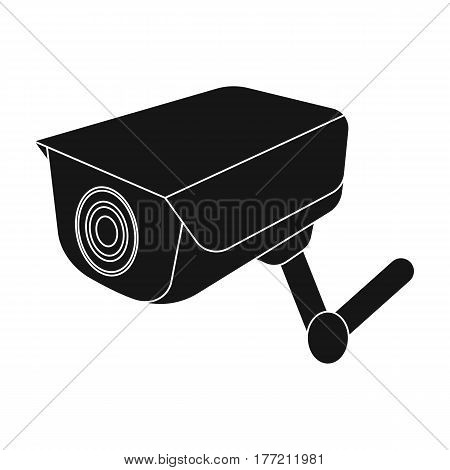 CCTV camera in the prison. The system of monitoring the jailers.Prison single icon in black style vector symbol stock web illustration.