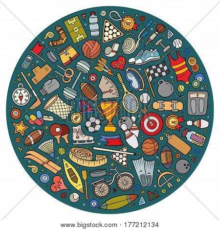 Colorful vector hand drawn set of Sport cartoon doodle objects, symbols and items. Round composition