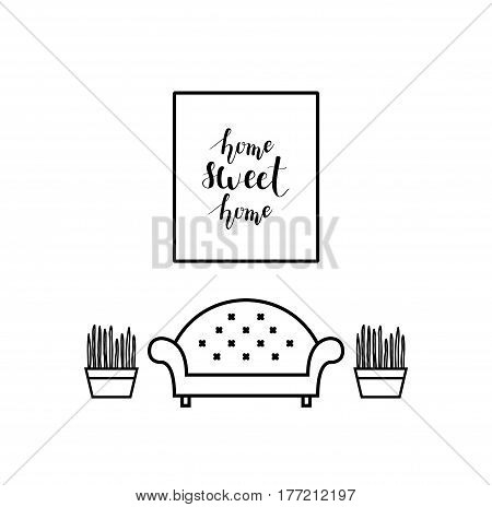 Home sweet home lettering in a living room. Sofa and plants