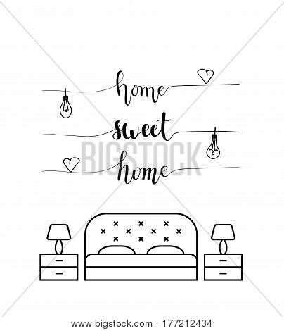 Home sweet home calligraphy in a bedroom. Abstract black and white design