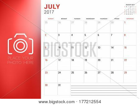 Calendar Template For July 2017. Week Starts Sunday. Place For Photo. Stationery Design. Vector Illu