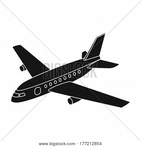 Aircraft for transportation of a large number of people. The safest air transport.Transport single icon in black style vector symbol stock web illustration.