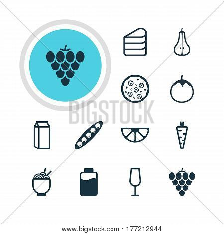 Vector Illustration Of 12 Meal Icons. Editable Pack Of Milk, Spaghetti, Bean And Other Elements.
