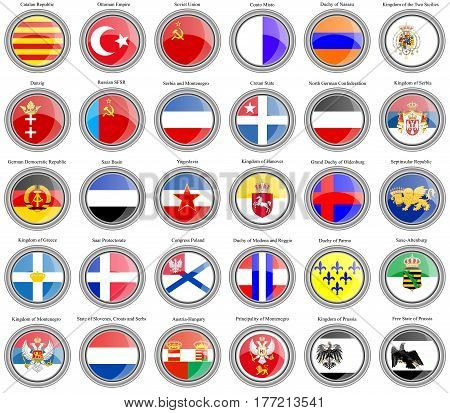Set Of Icons. Flags Of Former Countries In Europe.