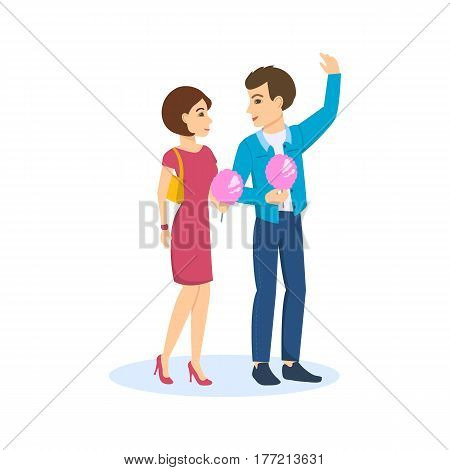 A young couple in love walks the streets of the city, communicates, has fun, eats sweet wadding. Vector illustration.