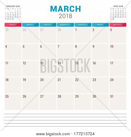 March 2018. Calendar Planner Vector Design Template. Week Starts On Sunday. Stationery Design