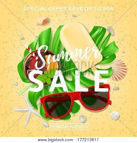Beautiful background for summer sale. Top view on composition with sun glasses, seashells, fresh cocktail and ice cream on sea sand. Vector illustration with leaves of tropical plant.
