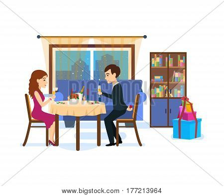 A loving couple amidst the home furnishings in the living room at a festive dinner, against the backdrop of the evening city. Male wants make offer to beloved girl. Vector illustration.