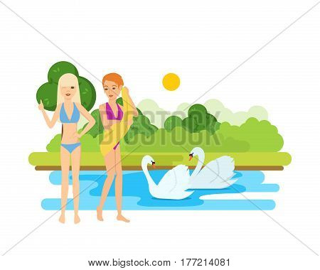 Young womans in bikini on the lake. Young, beautiful, tanned girls rest and bathe on the lake, next to swans, in summer on vacation. Vector illustration isolated on white background.