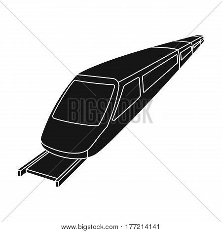 High speed train for transporting people over long distances. railway transport.Transport single icon in black style vector symbol stock web illustration.
