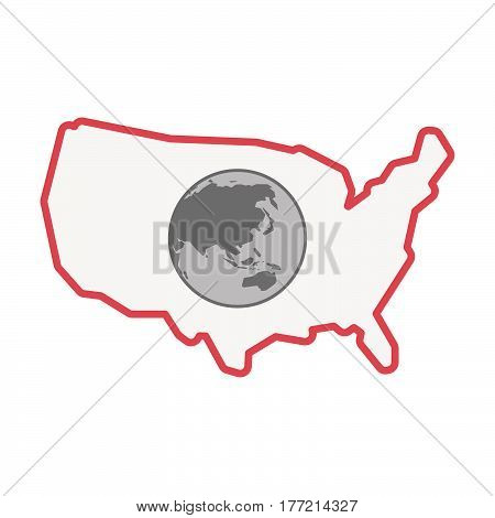 Isolated Usa Map With  An Asia Pacific World Globe Map