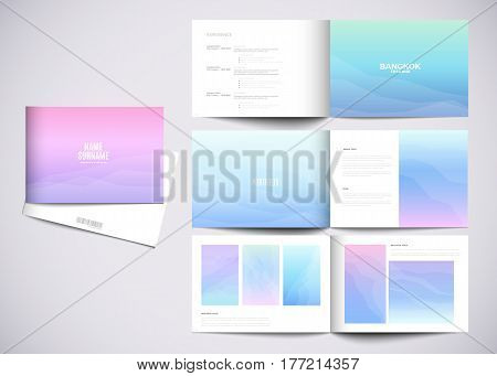 Graphic design studio portfolio template. White creative pages and cover with your text photo or illustrations.