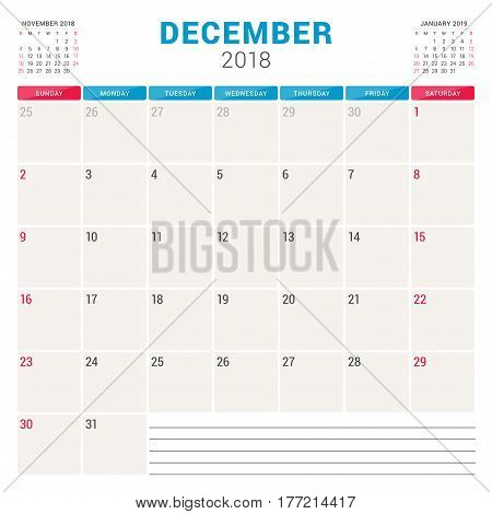 December 2018. Calendar Planner Vector Design Template. Week Starts On Sunday. Stationery Design
