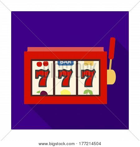 A slot machine in a casino. An automatic with a lever and a dial.Kasino single icon in flat style vector symbol stock web illustration.