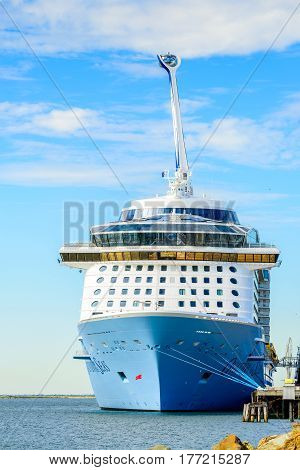 Port Adelaide South Australia February 14 2017: MS Ovation of the Seas cruise ship docked at Outer Harbour. It is third ship in the Quantum Class of passenger ships