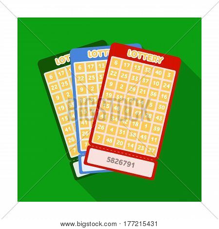 Lottery tickets. Chance to win the jackpot. Gambling in the casino.Kasino single icon in flat style vector symbol stock web illustration.