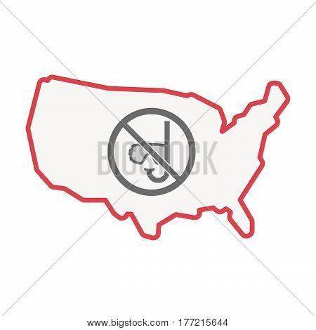 Isolated Usa Map With  A Diving Glasses And A Snorkel  In A Not Allowed Signal