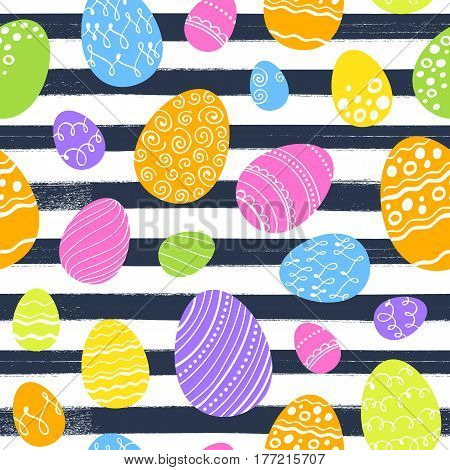 Seamless colorful easter eggs pattern with paint brush strokes. Holiday vector background.