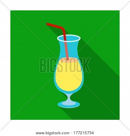 A cocktail in a glass with a straw. Drink for playing in the casino.Kasino single icon in flat style vector symbol stock web illustration.